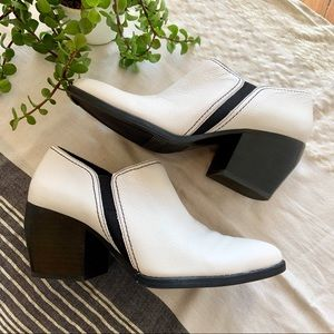 Naturalizer Femma White Leather Ankle Booties 8.5W